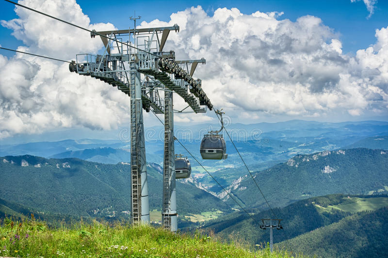 Cable car and mountains royalty free stock photo