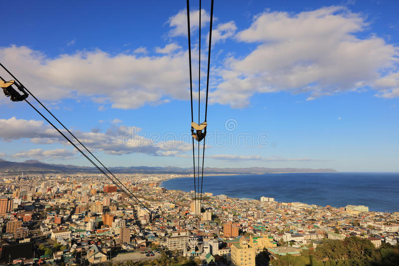 Cable car of Mt. Hakodate ropeway cityscape view. Cable car of Mt. Hakodate ropeway with cityscape view, Hokkaido, Japan stock image