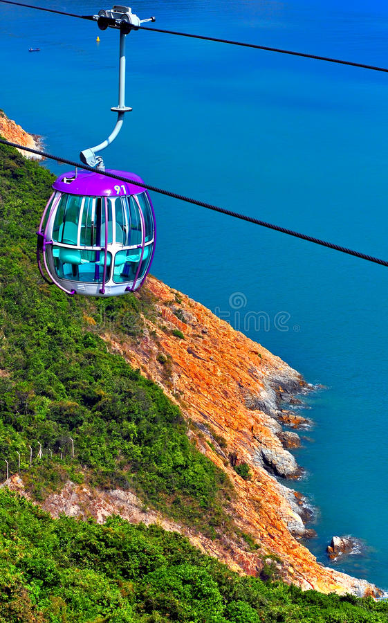 Cable car over hillside royalty free stock images