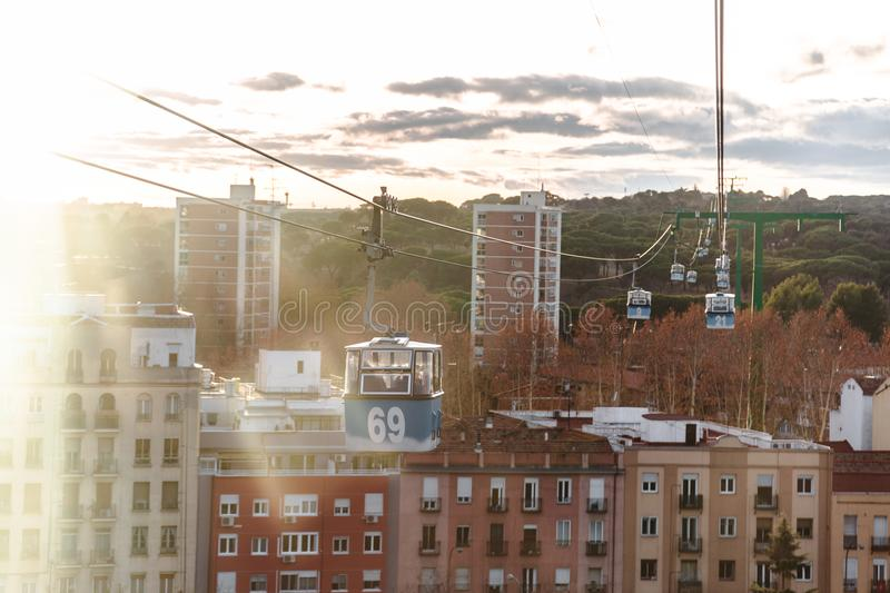 Cable car over park in Madrid, Spain royalty free stock photography