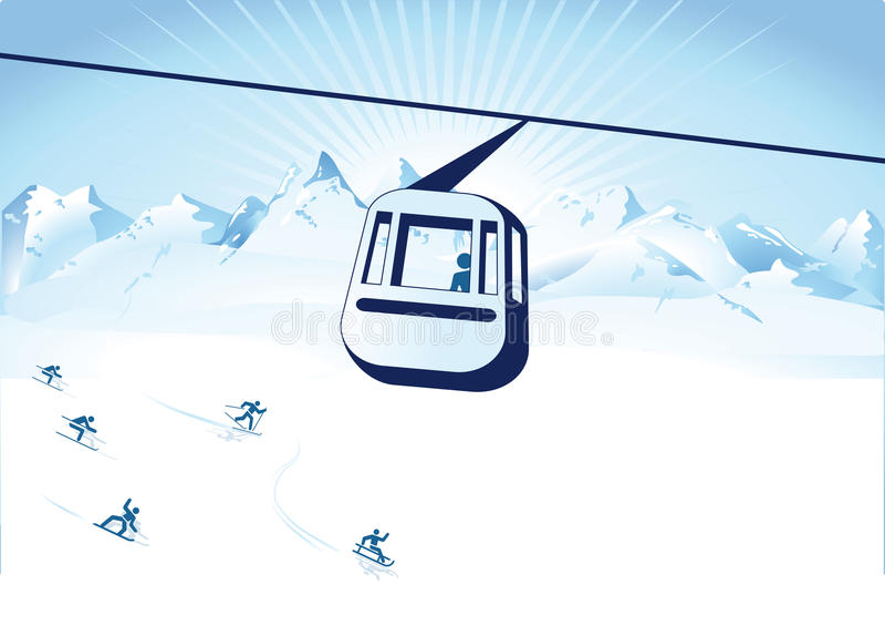 Cable car over ski slope vector illustration