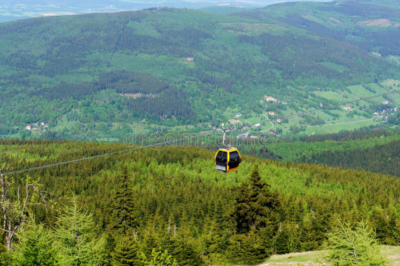 Cable car over a valley. Cable car over green valley in Swieradow Poland stock image