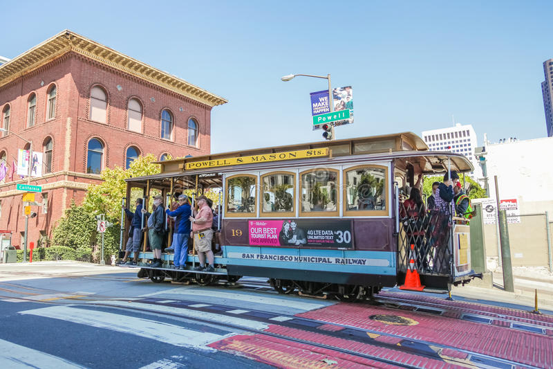 Cable Car Powell-Mason. San Francisco, California, United States - August 17, 2016: a Cable Car Powell-Mason Line, cross to California and Powell streets near stock photos