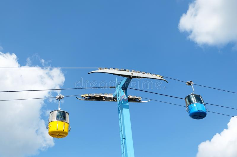 Cable car ride. Against a cloudy sky stock photography