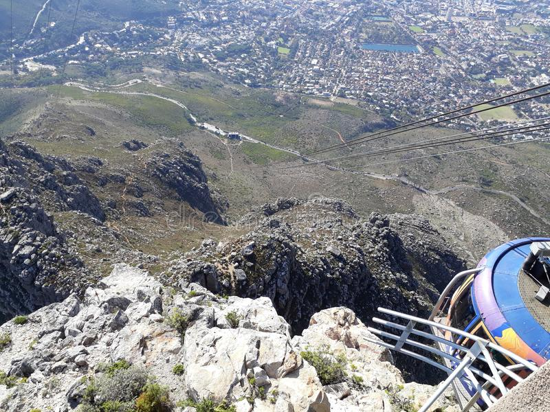 Cable Car Ride. View of the city from cable car TableMountain CapeTown SouthAfrica stock photos