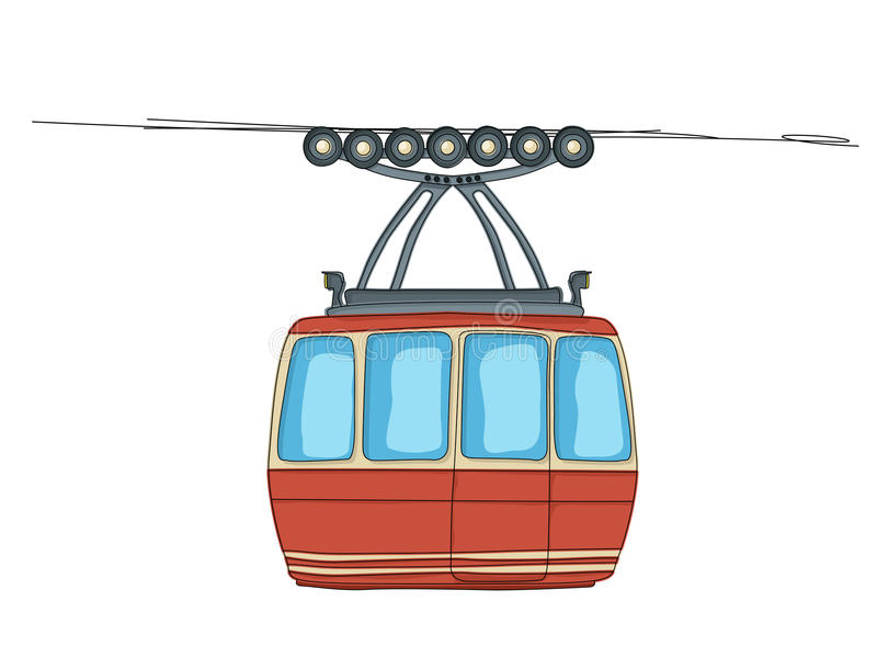 Cable-car on ropeway. Cartoon drawing over white background vector illustration