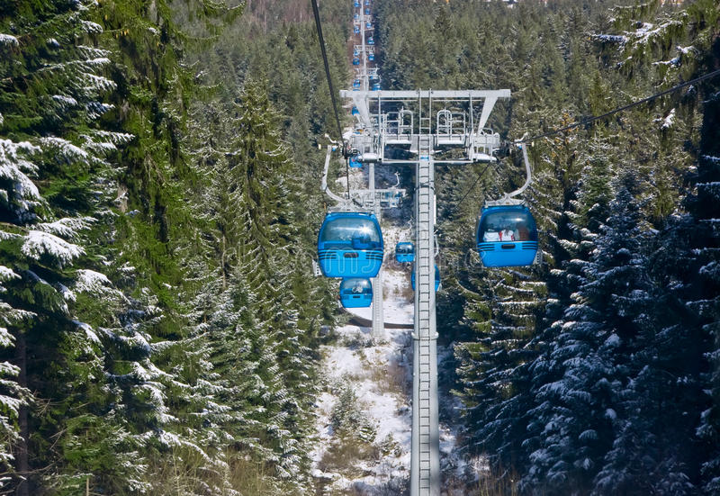 Cable car ski lift royalty free stock images