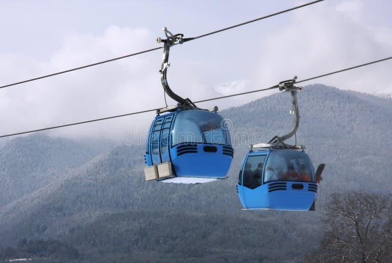 Cable car ski lift. Cable car lift at alpine ski resort Bansko, Bulgaria stock photography