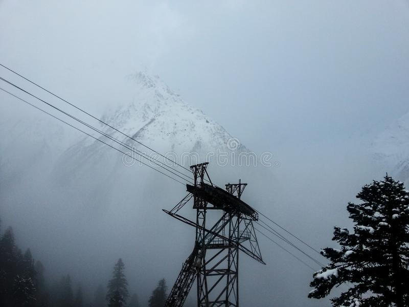 Cable car in the ski resort royalty free stock image