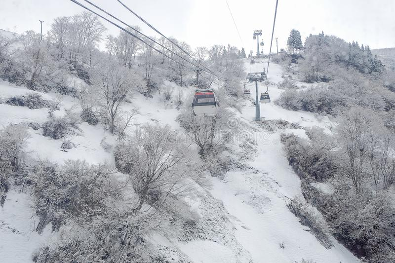 Cable car Sky on Snow mountain at Gala Yuzawa near Tokyo. popular for tourist attractions in Japan stock image