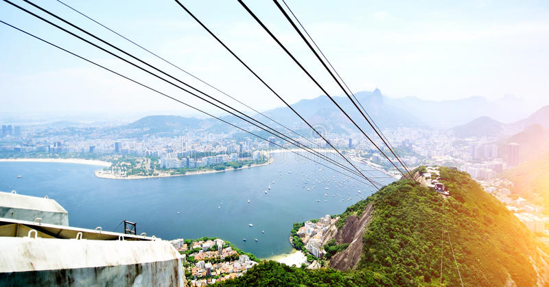 Cable car on Sugar Loaf Mountain with view of Vermelha beach, Copacabana, Botafogo Bay and Christ the Redeemer Statue a stock photos