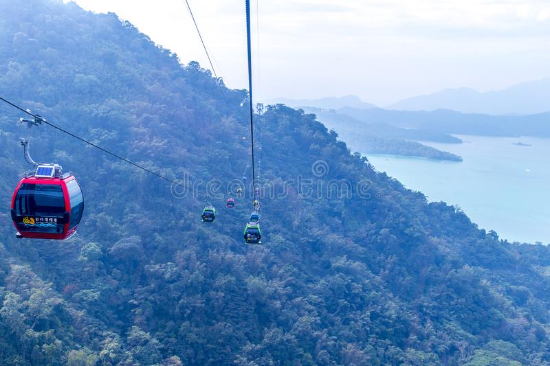 Cable car at Sun Moon Lake. Taiwan. To see top view while traveling stock photography