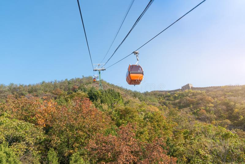 Cable car taking visitors up to the Mutianyu section of the Great Wall of China located in Huairou Country northeast of Central B stock photo