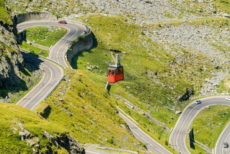 Cable car to Balea Lake over the famous  mountain Transfagarasan Road in Romania stock image