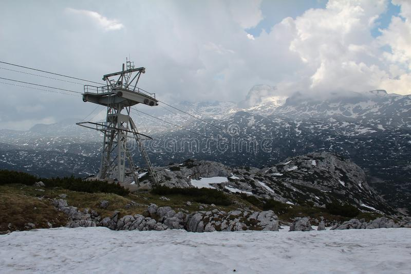 Cable car to Dachstein Glacier in Austria stock photography