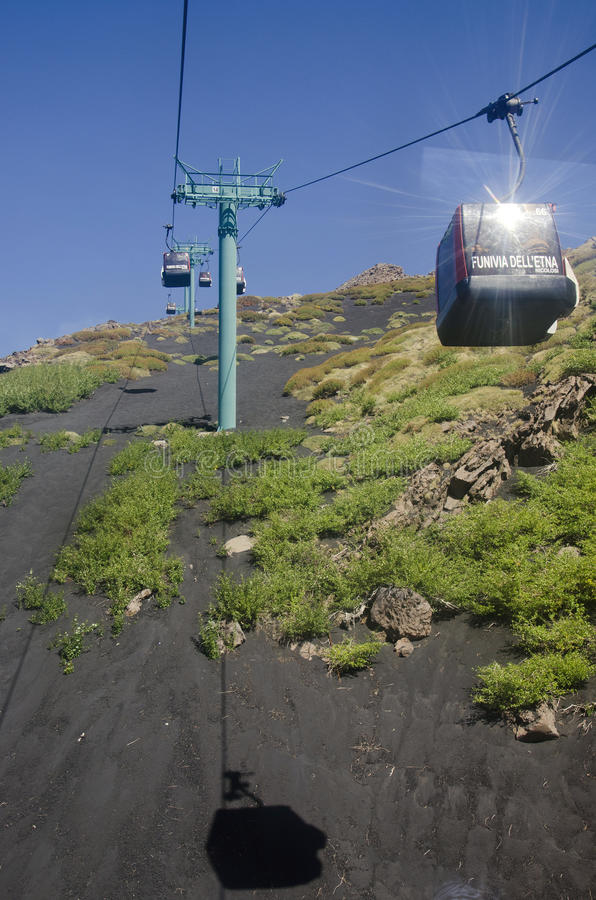 Download Cable-car to Etna editorial stock image. Image of geology - 27084174
