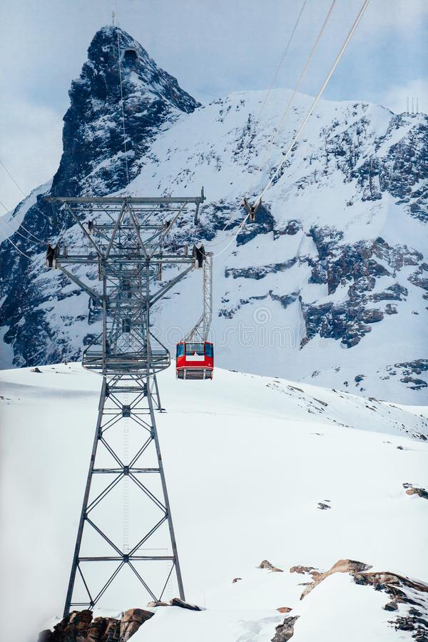 Cable Car to Klein Matterhorn. Vertical stock photos