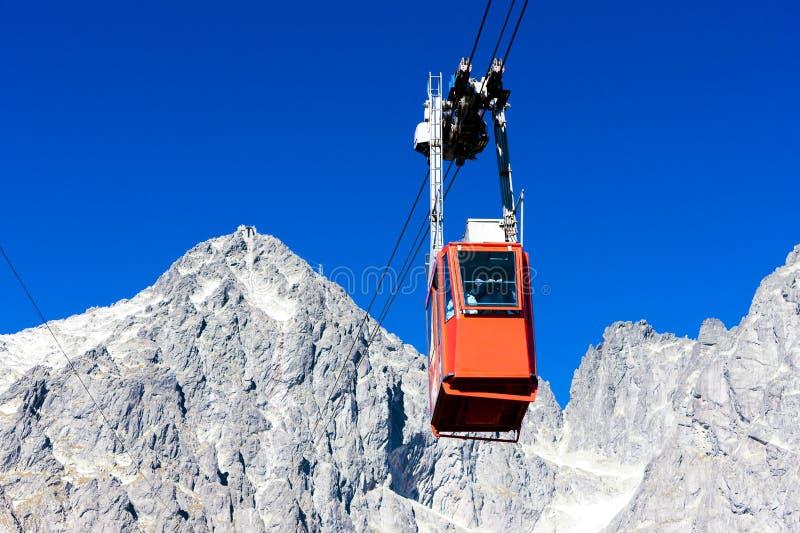 cable car to Lomnicky Peak, Vysoke Tatry & x28;High Tatras& x29;, Slovakia stock images