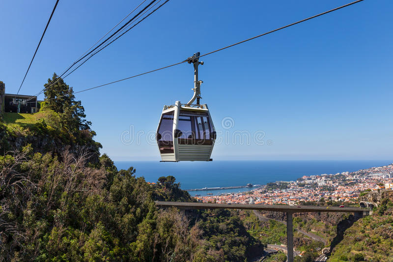 Cable car to Monte at Funchal, Madeira Island, Portugal. Cable car to Monte with aerial view at the city Funchal, Madeira Island, Portugal stock photos
