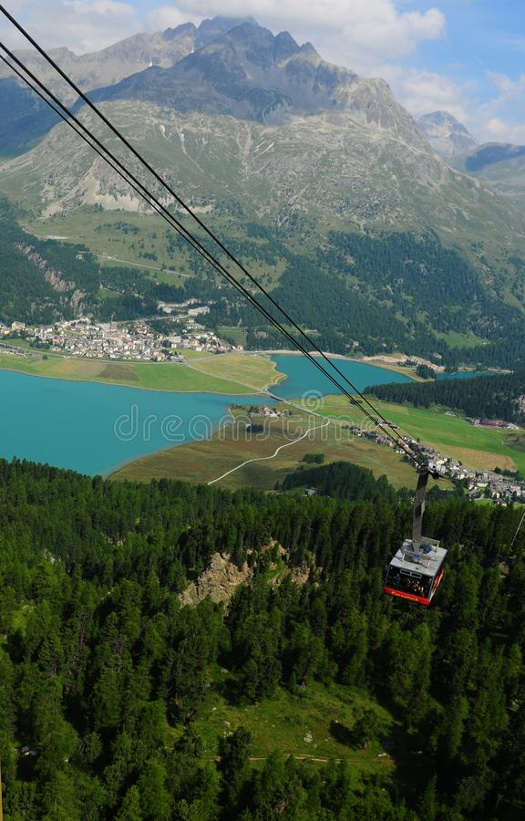 The cable car to Mount Corvatsch in the upper Engadin near St. Moritz stock images