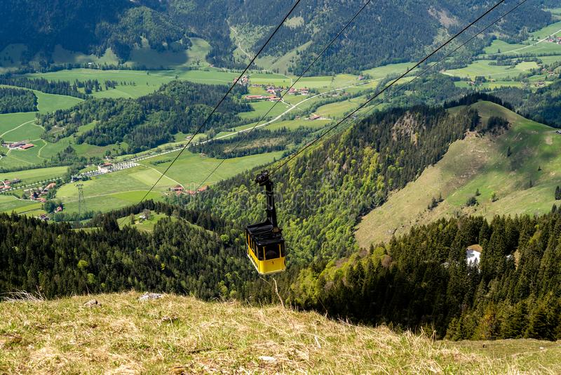 The cable car to Mount Wendelstein in Upper Bavaria stock images