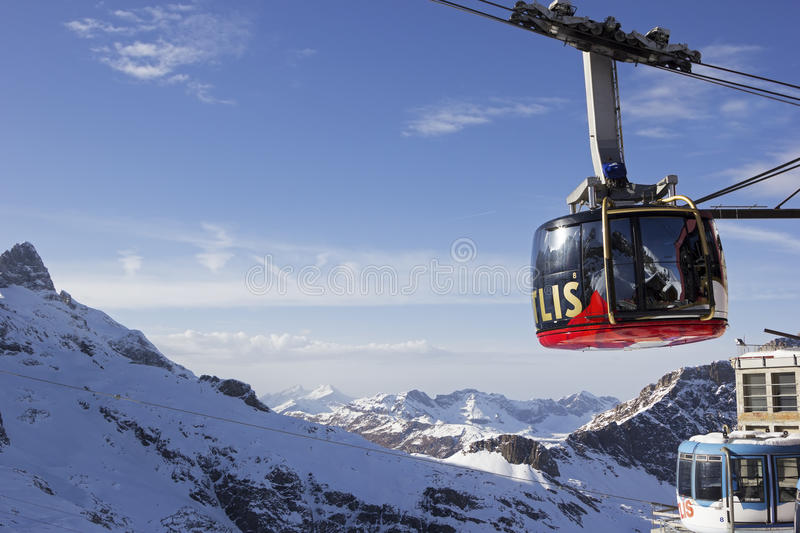 Cable car to Mt Titlis in Switzerland stock images