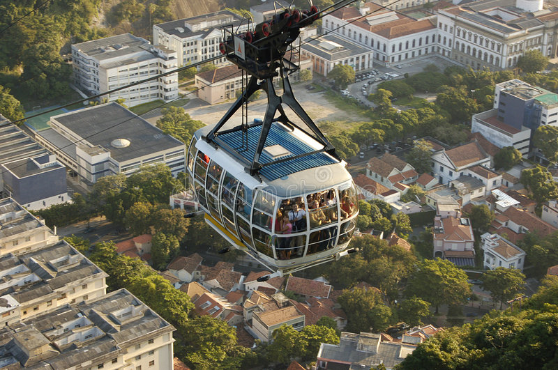 Cable car to Sugar Loaf. Mountain, Ro de Janeiro royalty free stock image