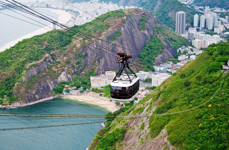 The cable car to Sugar Loaf in Rio de Janeiro stock photos