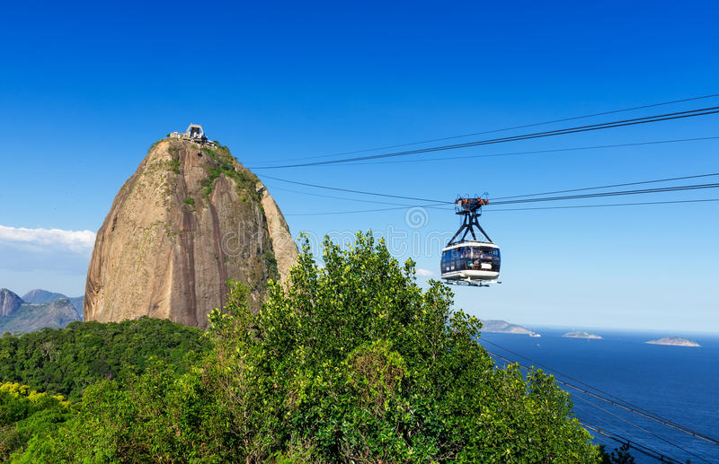 The cable car to Sugar Loaf in Rio de Janeiro. Brazil royalty free stock images