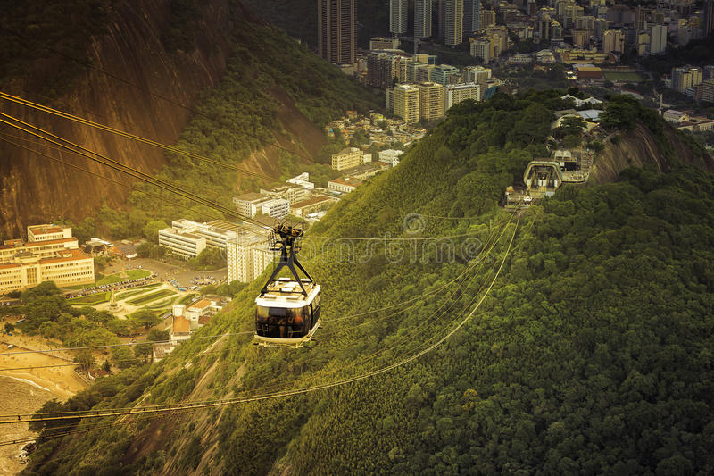 Cable car to Sugar Loaf in Rio de Janeiro with light leak. Brazil royalty free stock image