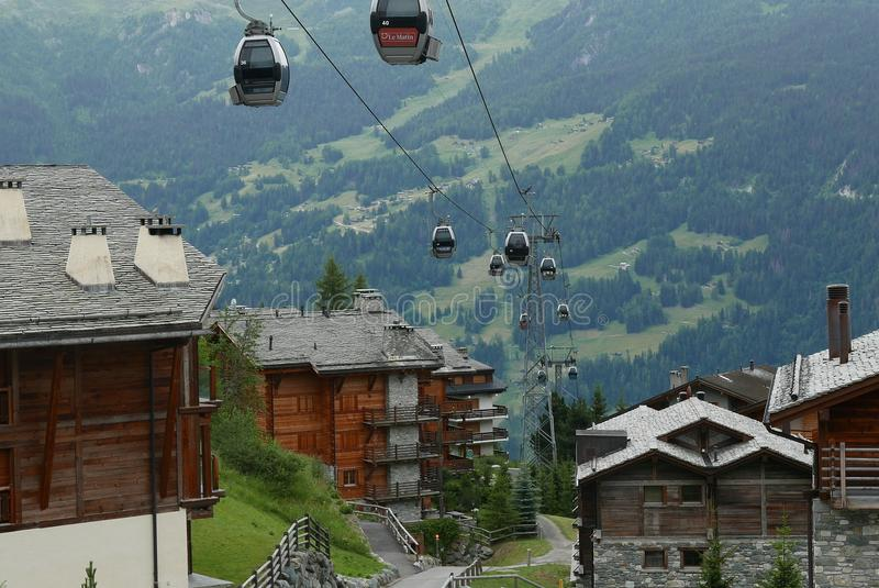 Cable car. To verbier switzerland stock images