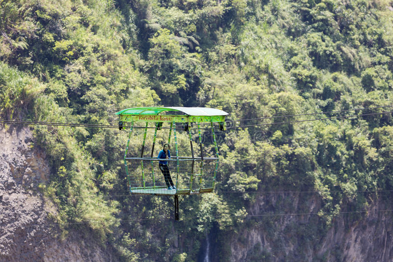 Cable car is used for observing Agoyan falls near Banos, Ecuador stock images