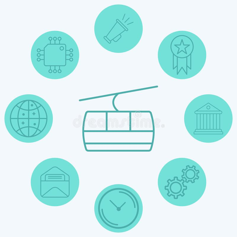 Cable car vector icon sign symbol. Icon vector, filled flat sign, solid pictogram isolated on white. Symbol, logo illustration royalty free illustration