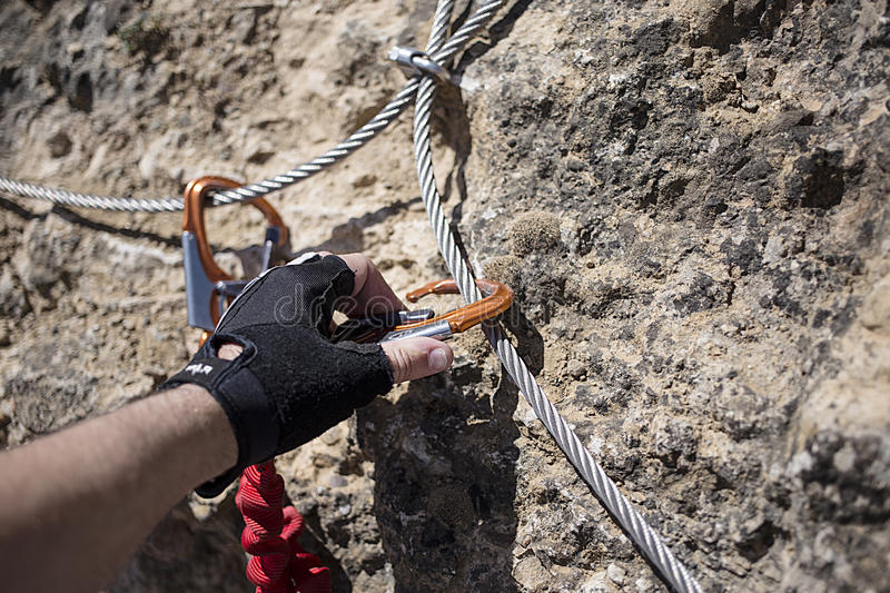 Cable and carabiner stock photography