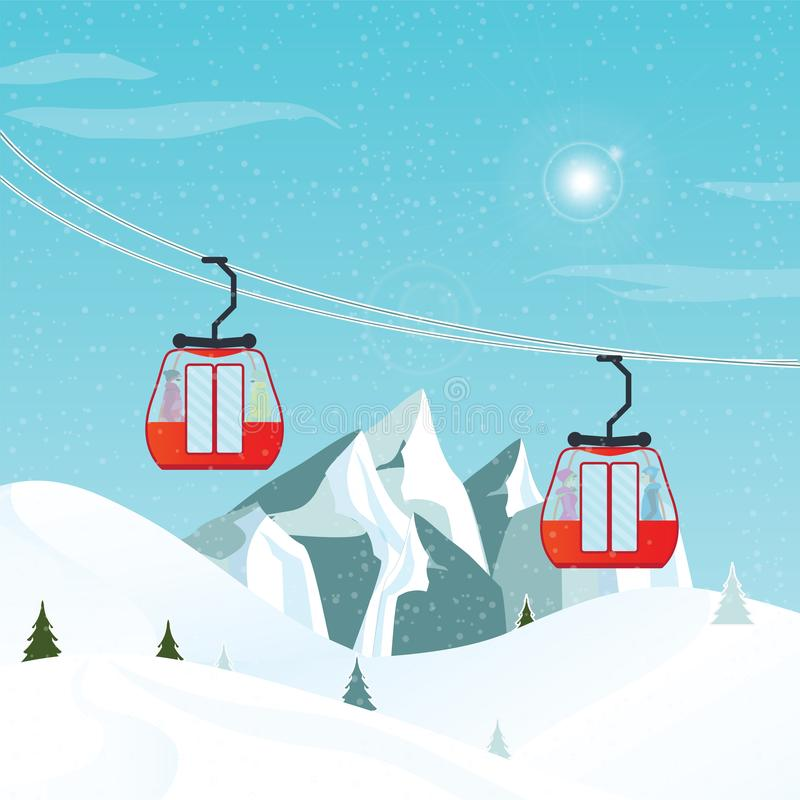 Cable cars or aerial lift moving above the ground against winter stock illustration