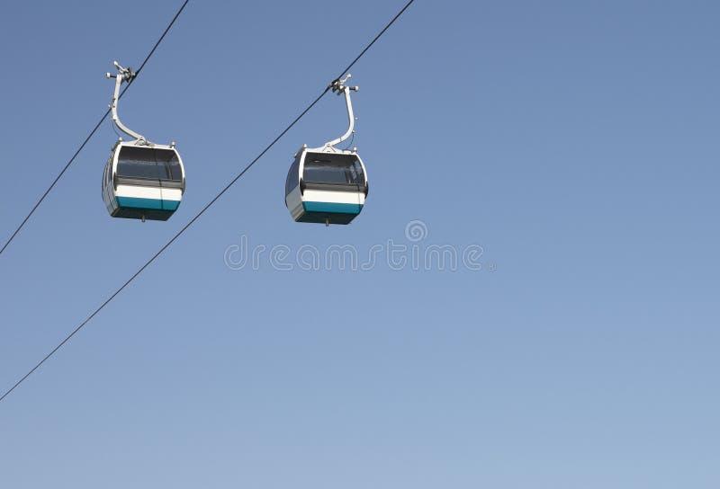 Cable Cars Against Blue Sky stock photos