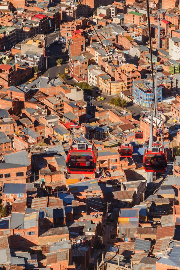 Cable cars or funicular system over orange roofs and buildings of the Bolivian capital, La Paz, Bolivia. Aerial america beauty cableway cart city cityscape royalty free stock photography