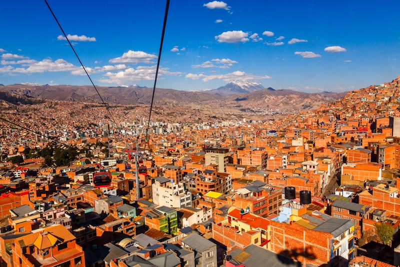 Cable cars or funicular system over orange roofs and buildings of the Bolivian capital, La Paz, Bolivia. Aerial america beauty cableway cart city cityscape royalty free stock image