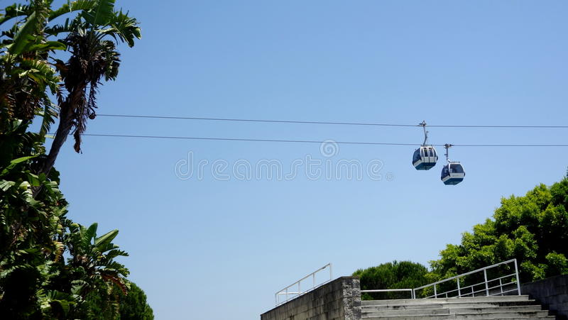 Cable cars in Lisbon royalty free stock images