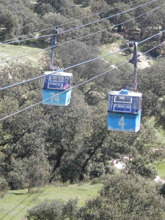 Cable cars over the Casa de Campo park in Madrid stock photo