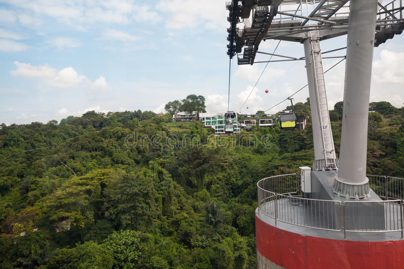 Cable cars from Singapore to Sentosa Island. And back royalty free stock photography