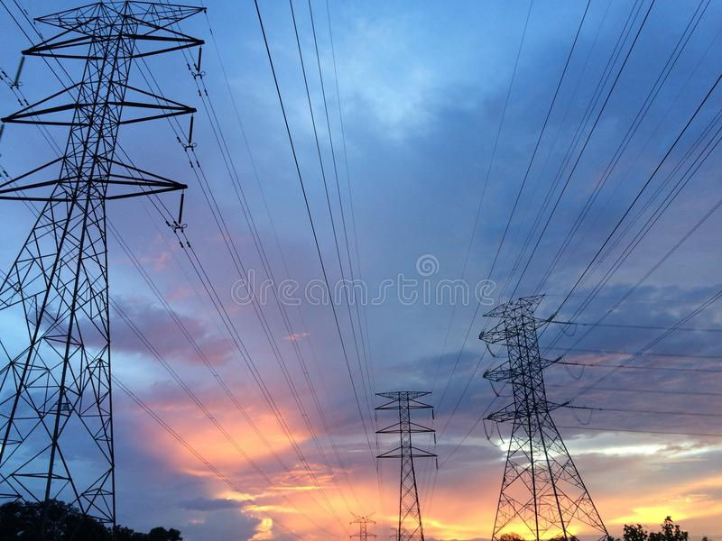 Cable, Clouds, Conductor royalty free stock image