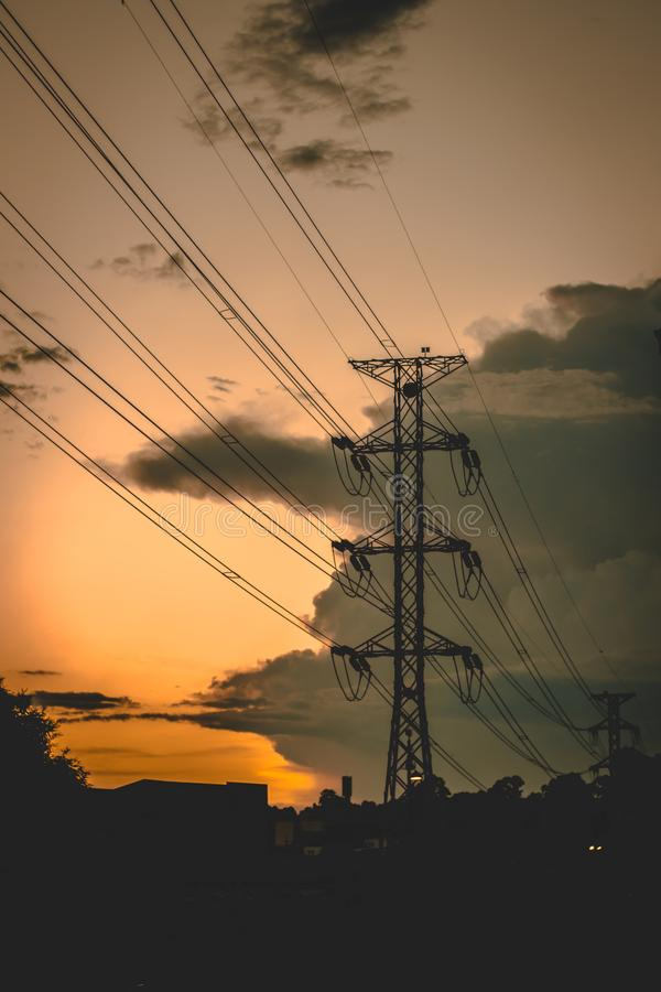 Cable, Clouds, Danger royalty free stock photography