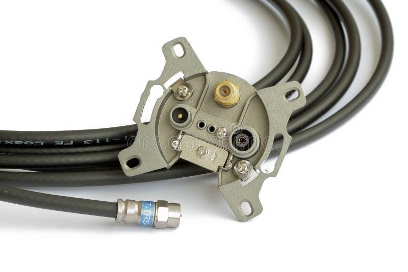 Cable coaxial de CATV y enchufe de pared de la antena fotos de archivo libres de regalías