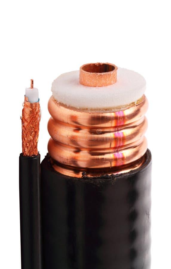 Cable coaxial fino y grueso fotos de archivo