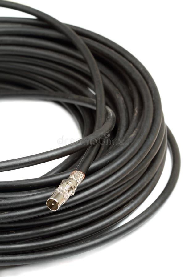 Cable coaxial y conector de la TV foto de archivo libre de regalías