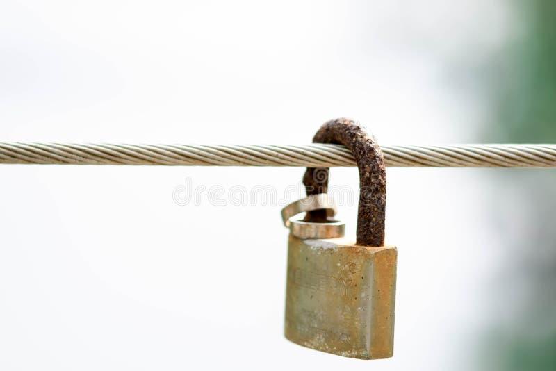 Cable de acero con el candado y los anillos que simbolizan matrimonio, amor, lealtad y seguridad imagen de archivo libre de regalías
