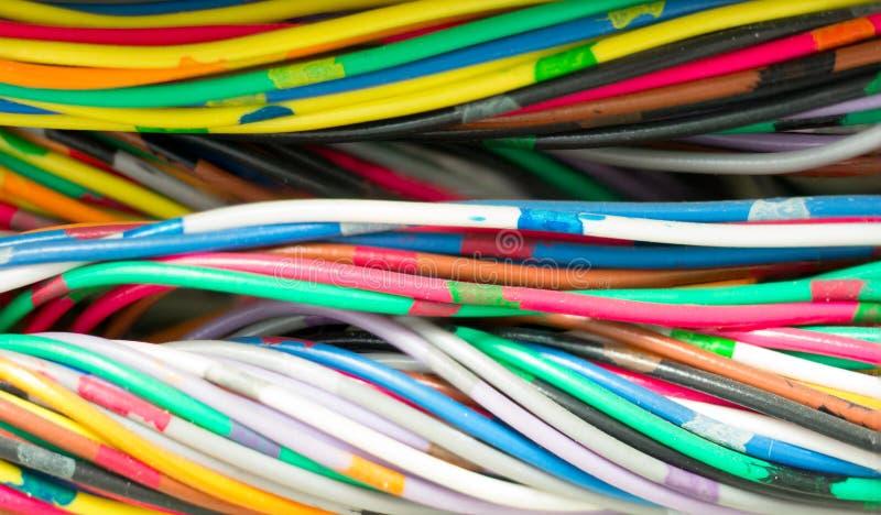 Cable de alambres de las comunicaciones del teléfono foto de archivo
