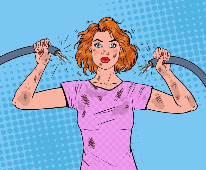 Cable de Art Woman Holding Broken Electrical del estallido ilustración del vector