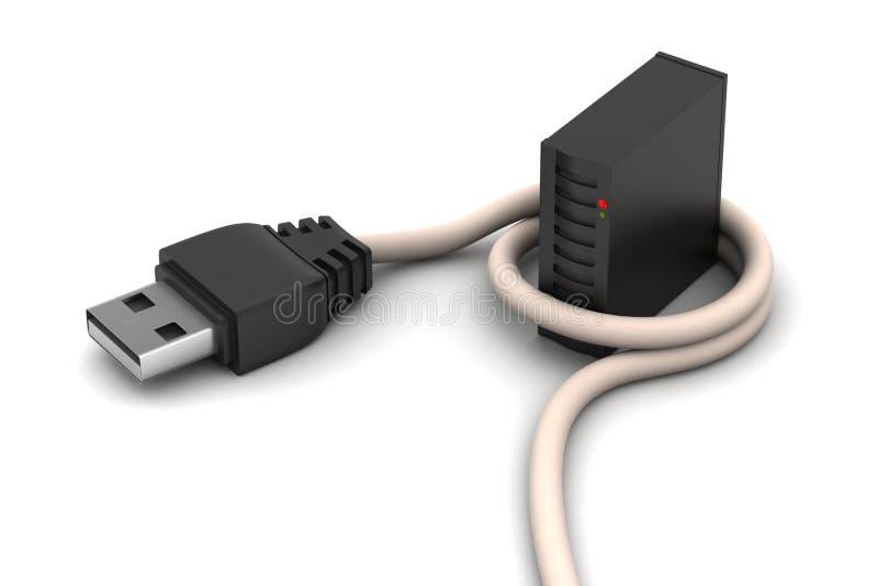 Cable de conexión con el servidor ilustración del vector